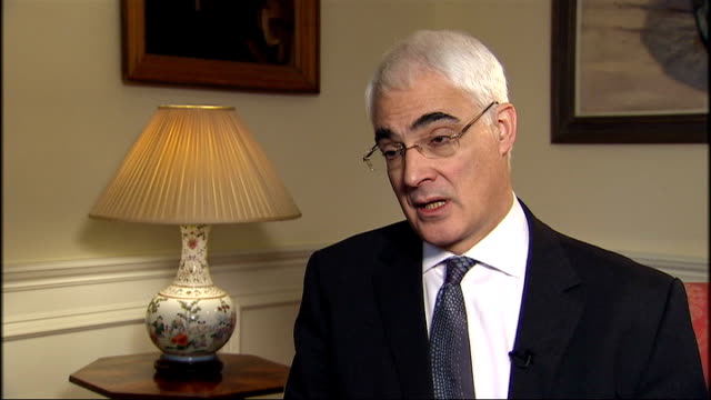 london downing street reporter along as into number 11 int alistair darling mp interview sot we need to maintain our support for the economy now... - number 11 stock videos and b-roll footage