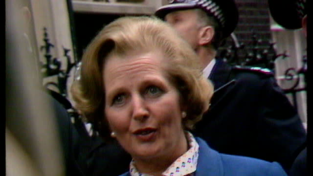 downing street ext margaret thatcher speech on steps of number 10 sot where there is discord may we bring harmony where there is error may we bring... - 1979 stock videos and b-roll footage