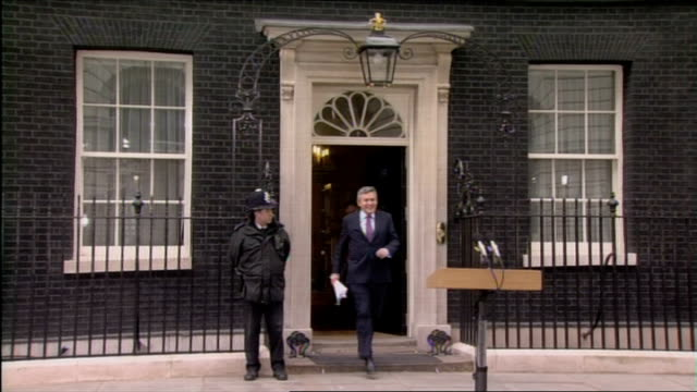 london downing street shot of downing street buildings and number 10 gordon brown mp 'resignation' statement sot mr clegg has just informed me that... - 10 downing street stock videos and b-roll footage