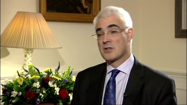london downing street int alistair darling mp interview sot have not decided yet what total size of the spending envelope will be / we have said we... - unemployment benefit stock videos & royalty-free footage