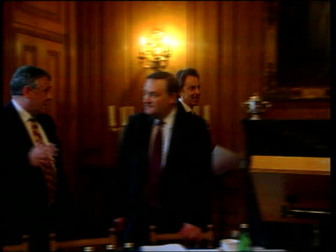 london downing street int side gv prime minister tony blair mp along to podium at head of conference table to address farmers leaders farm... - farm to table stock videos & royalty-free footage