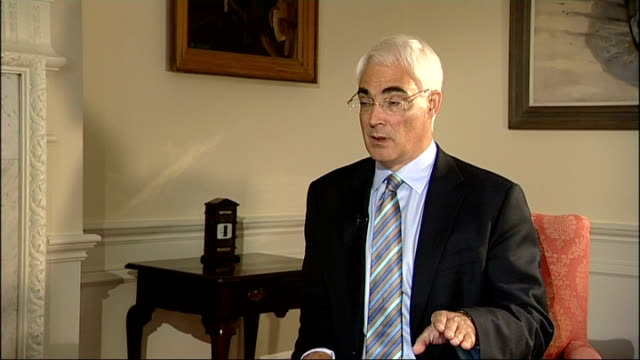 london downing street number 11 int alistair darling mp interview sot has to be a global solution / if you talk about capping a bonus all they have... - number 11 stock videos and b-roll footage