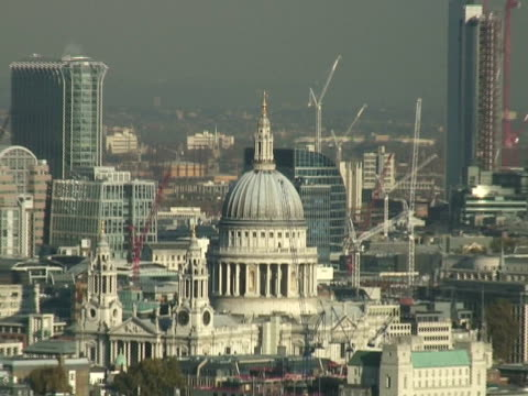 London: Economy, Construction Cranes, St Pauls, Zoom Out to Cityscape