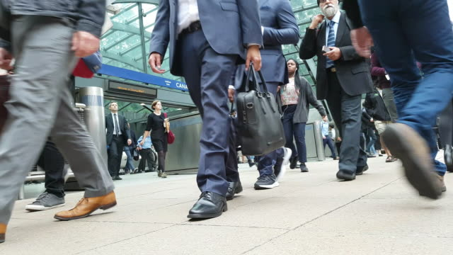 london employees commuting to the offices - busy stock videos & royalty-free footage