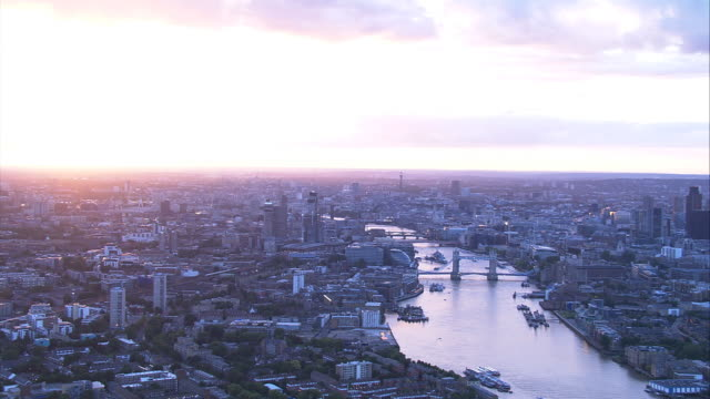 London, England. Aerial shot at Sunset