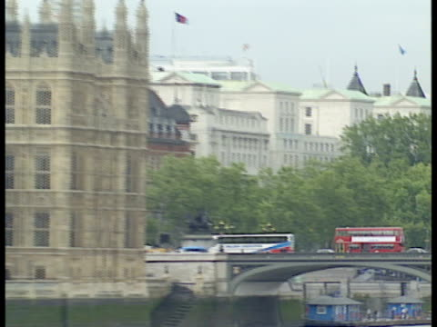 london england's houses of parliament big ben and victoria tower overlook the thames river - victoria tower stock videos & royalty-free footage