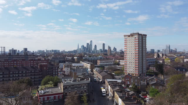 london establisher drone footage over the famous broadway market in east london - council flat stock videos & royalty-free footage