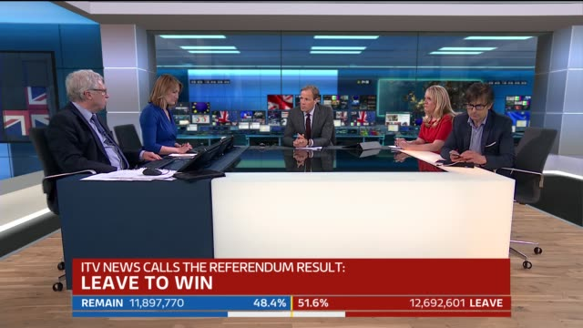 special 0400 0500 london ext big ben clock showing 436 and 'itv news calls referendum result leave to win' graphic studio tom bradby discussion with... - 国民投票点の映像素材/bロール