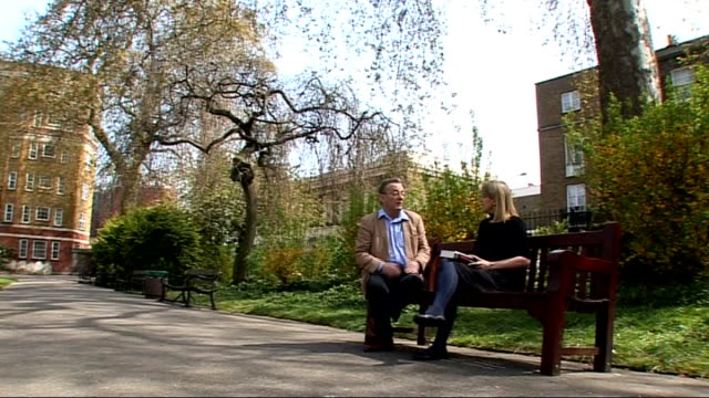 london ext close shot of cover of robert service biography of trotsky robert service seated in park talking to reporter covers of books by historians... - biographie stock-videos und b-roll-filmmaterial