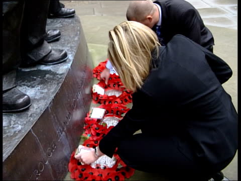 london samantha roberts widow of sergeant steve roberts who died in the gulf war after being ordered to give up his body armour standing with tristan... - widow stock videos & royalty-free footage