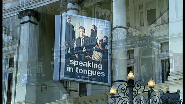 london ext duke of york's theatre with signs and posters promoting play 'speaking in tongues' - actor stock videos & royalty-free footage