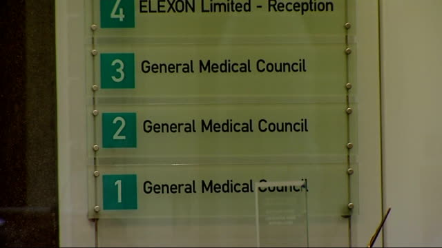 london ext exterior of general medical council building general medical council signs on wall reporter to camera - general medical council stock videos & royalty-free footage
