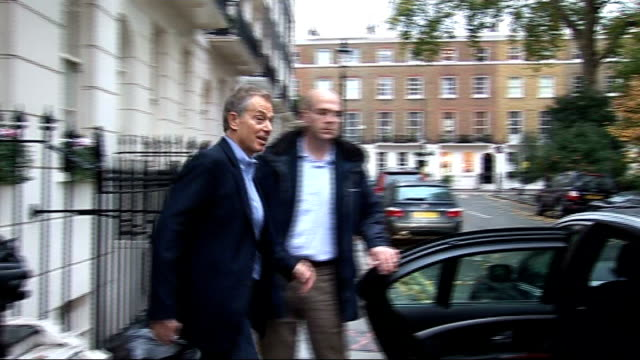 EXT Former Prime Minister Tony Blair from house to car and car away