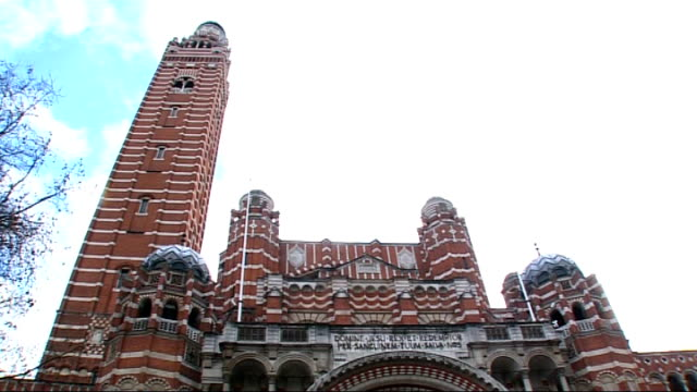 general views westminster cathedral vox pops - westminster cathedral stock videos & royalty-free footage
