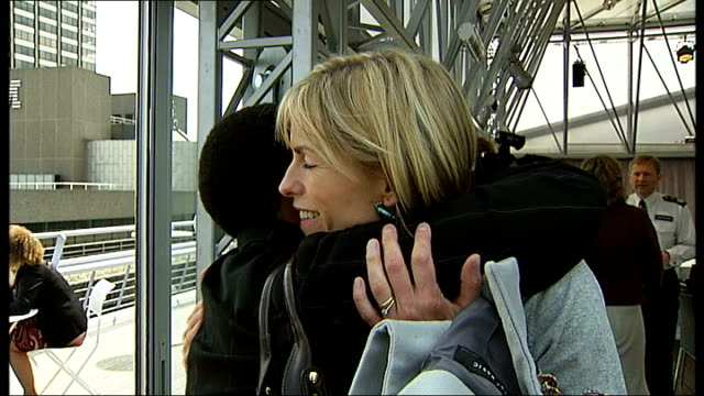 london ext kate mccann hugging and chatting with blessing mlandeli at launch of child rescue alert system - kate mccann stock videos & royalty-free footage