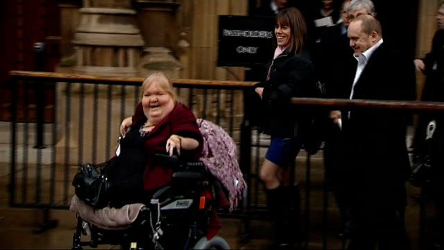 louise medus-mansell and other victims of thalidomide drug out from houses of parliament - thalidomide stock videos & royalty-free footage