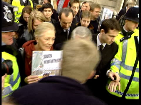 London TCMS Actress Vanessa Redgrave and Chechen separatist leader Ahmed Zakayev with people around CMS Vanessa Redgrave speaking to press SOT Clean...