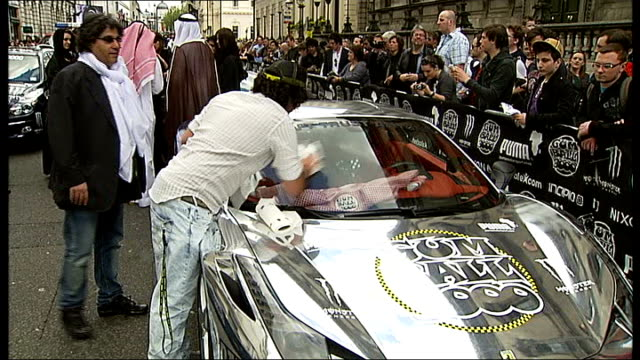 various of cars at the start of the gumball 3000 rally - itv london tonight weekend stock videos & royalty-free footage