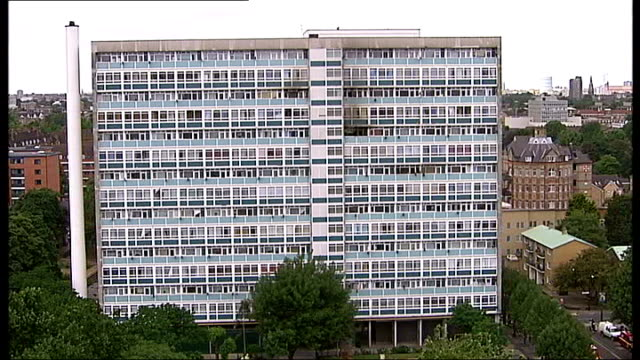 various shots of london skyline showing highrise housing, tower blocks of flats south london: camberwell: view of lakanal house seen from upper floor... - fensterfront stock-videos und b-roll-filmmaterial