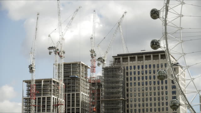 london eye and shell centre in redevelopment - grattacielo video stock e b–roll