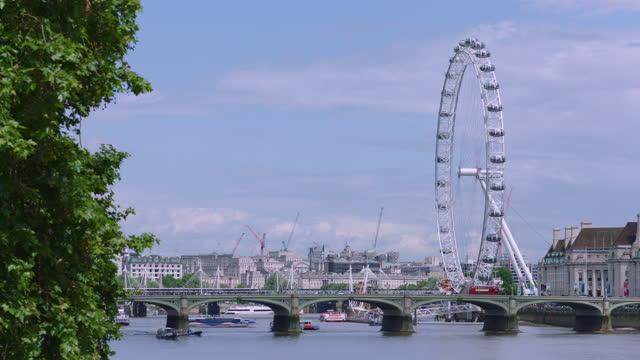 london eye (millennium wheel) and westminster bridge / london, england - construction machinery stock videos & royalty-free footage