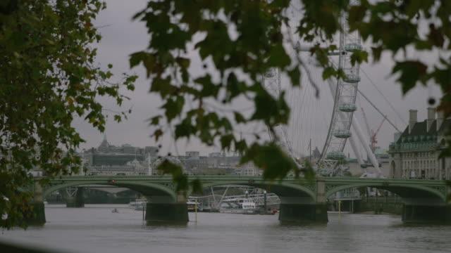 ws london eye and westminster bridge - tower bridge stock videos & royalty-free footage