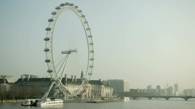 London Eye, Big Ben, Thames river and Westminster Bridge together