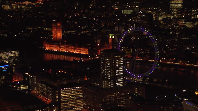 london eye & house of parliament overview at night - aerial view stock videos & royalty-free footage