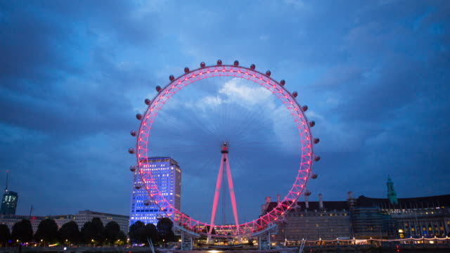 london eye timelapse, wide shot - big wheel stock videos & royalty-free footage