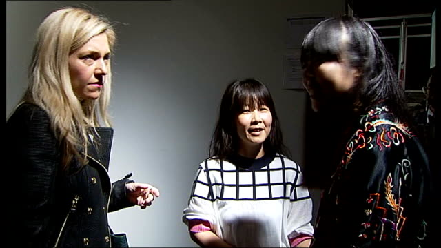 opening day jackie lee talking to press backstage jackie lee interview sot - london fashion week stock videos and b-roll footage