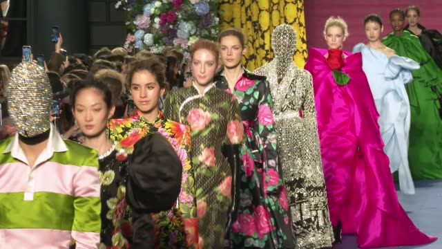london fashion week a/w 2020 - richard quinn on february 15, 2020 in london, england. - catwalk stock videos & royalty-free footage
