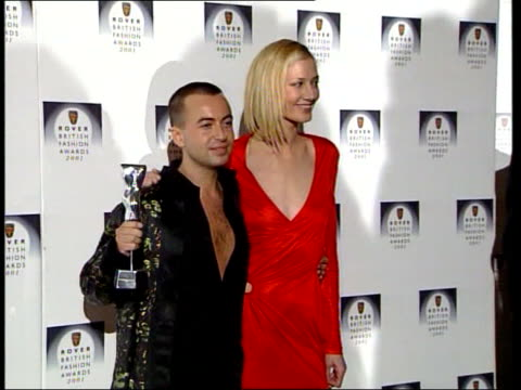 designer of the year award england london designer of year winner julien macdonald standing with actress joely richardson - london fashion week stock videos and b-roll footage