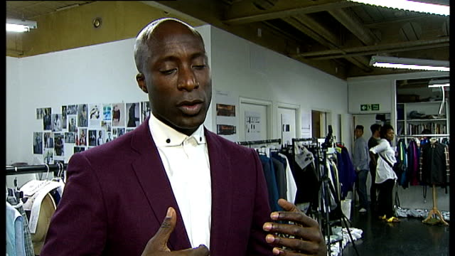 ozwald boateng show ozwald boateng interview sot reporter to camera - london fashion week stock videos and b-roll footage