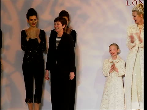 round up; int models wearing caroline charles' bridal clothes along catwalk youth wearing fashion hoodie along caroline charles taking bow on stage... - hooded top stock videos & royalty-free footage