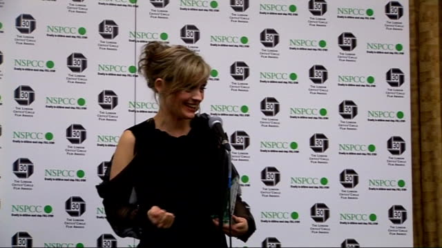 London Film Critics' Circle Awards 2010 arrivals interviews and winners' press conference Anne Marie Duff press conference SOT On winning the award...