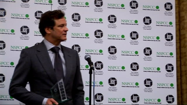 London Film Critics' Circle Awards 2010 arrivals interviews and winners' press conference Colin Firth press conference SOT On winning the award not...