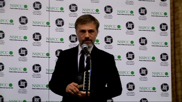 London Film Critics' Circle Awards 2010 arrivals interviews and winners' press conference Christophe Waltz press conference SOT On receiving award on...