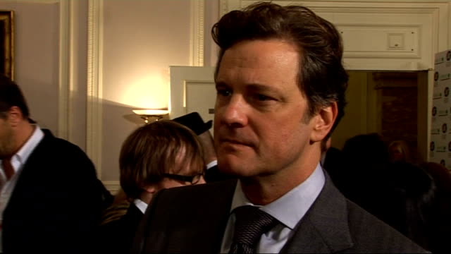 vídeos de stock, filmes e b-roll de london film critics' circle awards 2010 arrivals interviews and winners' press conference colin firth interview sot on being nominated thrilling... - colin firth