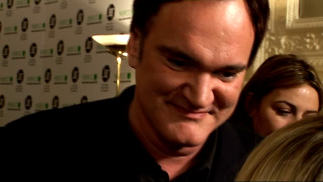 london film critics' circle awards 2010: arrivals, interviews and winners' press conference; general views tarantino being interviewed sot quentin... - academy awards stock-videos und b-roll-filmmaterial