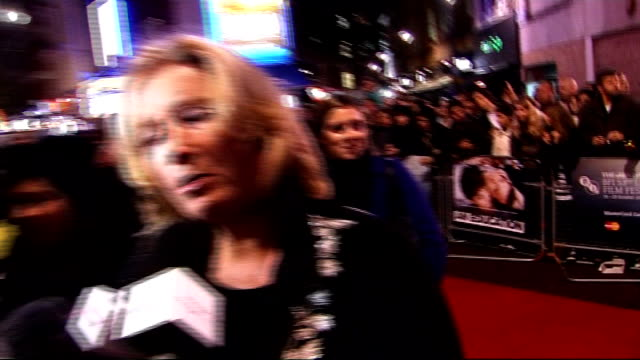 'an education' premiere celebrity arrivals close up of emma thompson speaking sot / dominic cooper interview on red carpet sot on loving 1960s... - emma thompson stock videos and b-roll footage