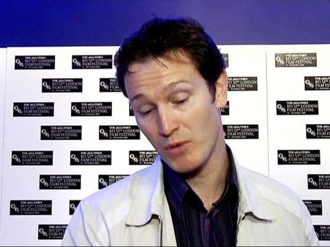 london film festival launch int nick moran interview sot on the film festival and why london is great / on his film how it started as a play took... - telstar stock-videos und b-roll-filmmaterial