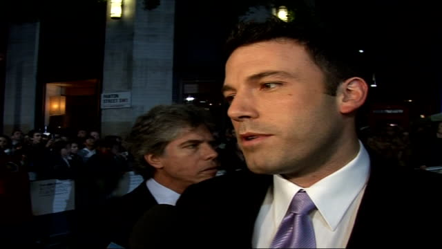 Premiere of 'Hollywoodland ' Ben Affleck interview SOT On the oscar buzz surrounding the film on how he feels about awards on taking two years out of...