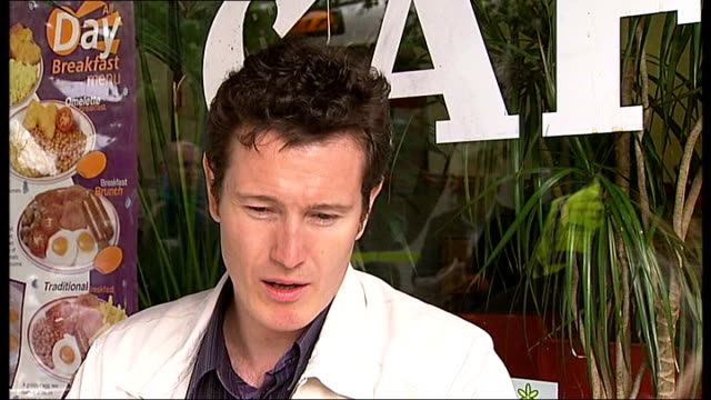 'telstar' film nick moran interview sot on 'telstar' as 'london' film / we feel we're saying to every other film 'welcome to our festival' - telstar stock-videos und b-roll-filmmaterial