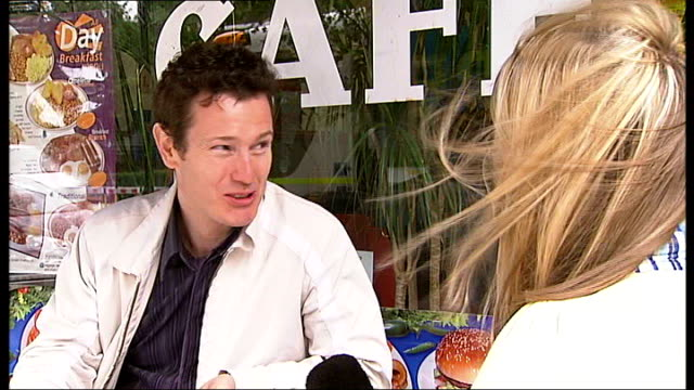 'telstar' film nick moran interview sot relates story about posing as potential hirer of studio in order to see inside - telstar stock-videos und b-roll-filmmaterial