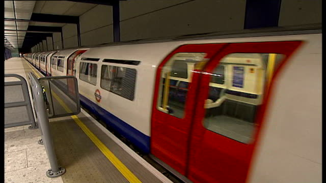 London Film Festival screens short films about travel in London INT SHOT showing Piccadilly line tube train leaving station