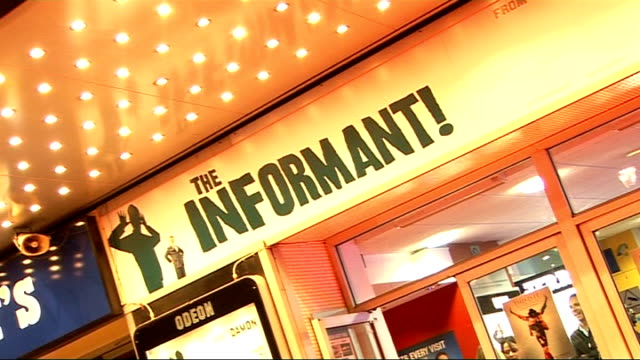 'the informant' premiere in london red carpet arrivals england london photography** film poster for 'the informant' / exterior of the odean west end... - festival poster stock videos & royalty-free footage