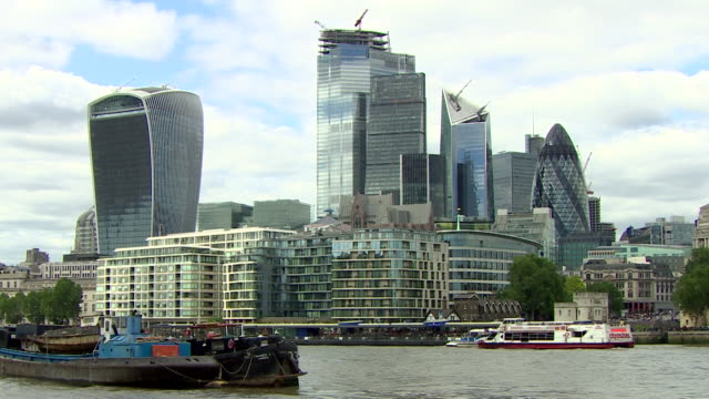 london financial disctrict city of london including gv's of walkie talkie building the gherkin and city hall - water stock videos & royalty-free footage