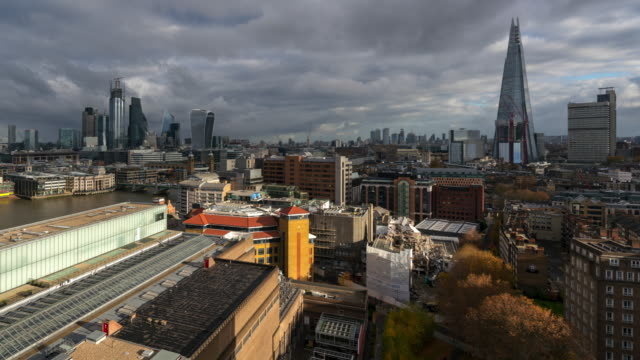 london financial district during overcast time lapse - overcast stock videos & royalty-free footage
