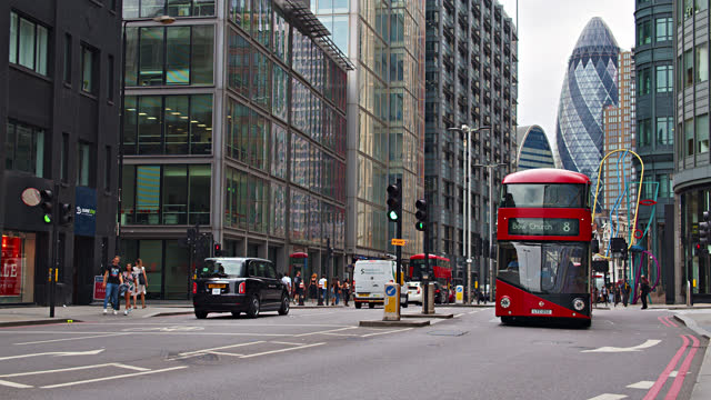 london financial district. red bus - red stock videos & royalty-free footage