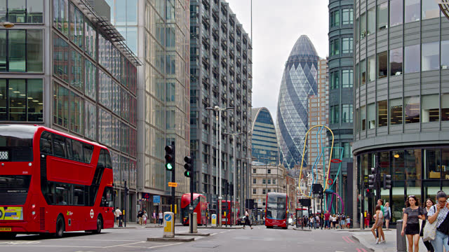 london financial district. red bus. - finance and economy stock videos & royalty-free footage